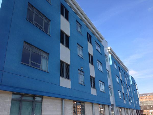 blue commercial building